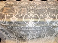 "GENUINE VINTAGE WHITE LACY SOFT COTTON TABLECLOTH SCALLOP EDGES 70"" X  86"""